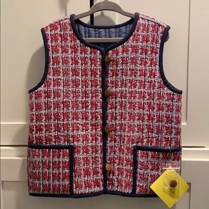 Roller Rabbit Quilted Vest Gatito Red